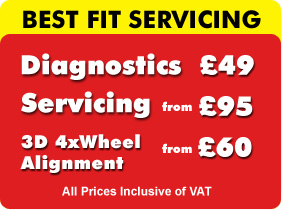 Diagnostics for �30.00, Servicing from �59.00, and 3D Wheel Alignement from only �30 at our Best Fit Glasgow Garage